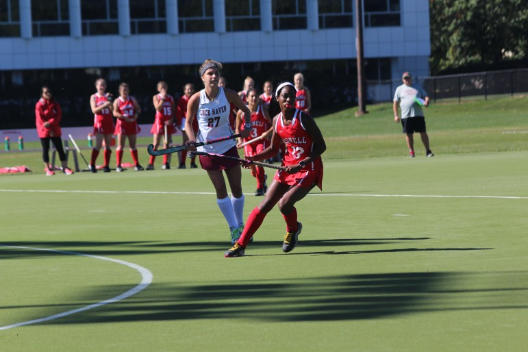 Senior Krysten Mayers set the program mark in points and goals this weekend against Harvard.