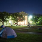Students camped out on the Arts quad and raised money for disaster relief through raffles and donations.