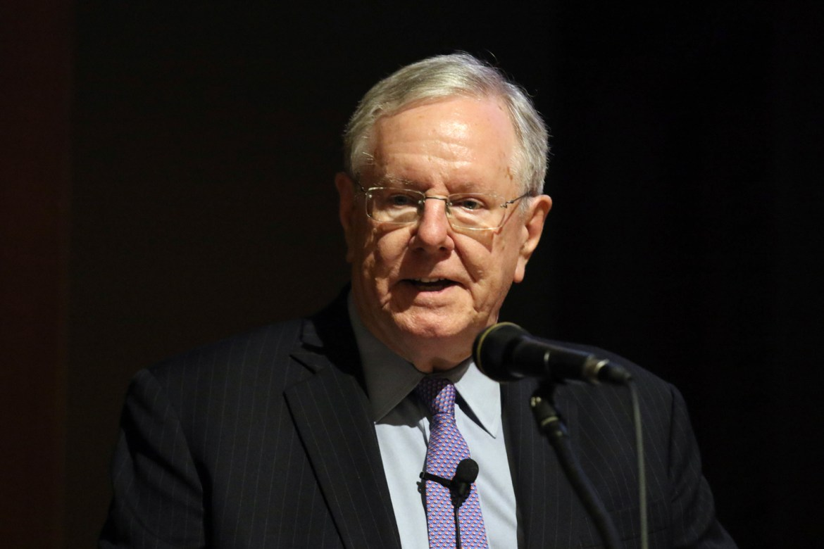 Steve Forbes, chairman and editor-in-chief of Forbes Media, spoke to students Wednesday night on the future of the American economy, healthcare reform and tax policy.