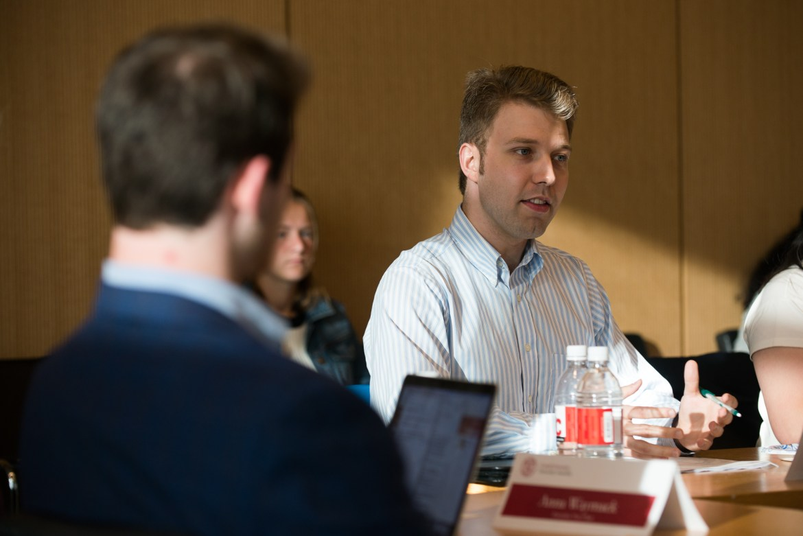 Matt Battaglia '16, grad, the chair of the University Assembly's Codes and Judicial Committee, speaks at the U.A. meeting on Oct. 17, 2017, where he outlined the U.A.'s proposed changes to the Code of Conduct.