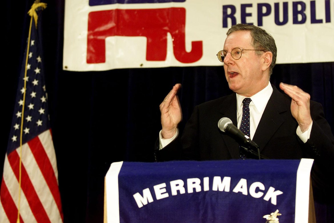 Steve Forbes speaking at the Merrimack Republican Women's Club Dinner in Nashua, during his 2000 presidential campaign.