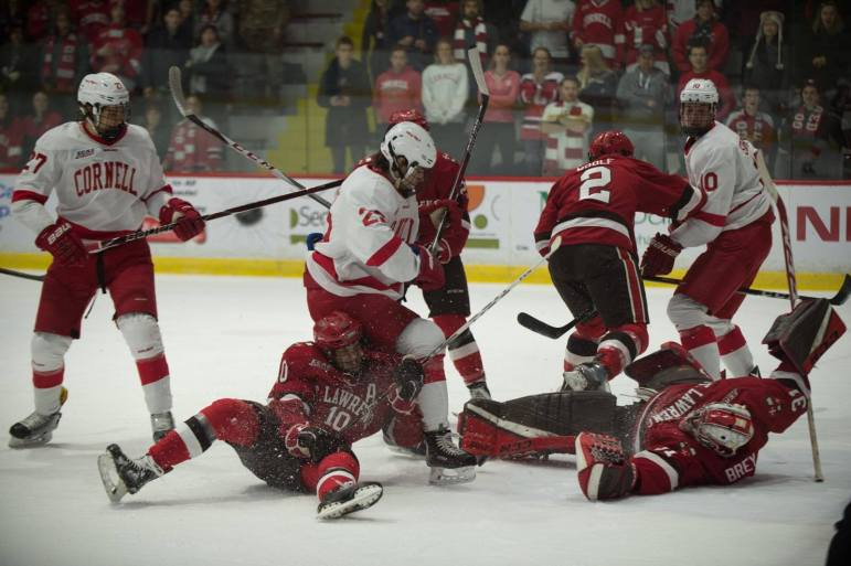 Cornell peppered St. Lawrence's Arthur Brey with an impressive 46 shots Friday night.