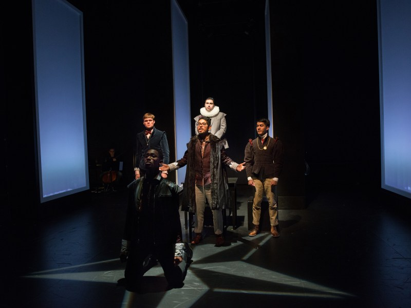 The cast of Hamlet Wakes Up Late rehearses at the Schwartz Center before opening night.
