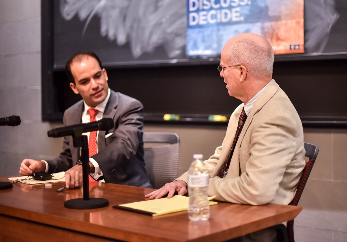 Roman Martinez and Prof. Stewart Schwab speak at the Federalist Society on Wednesday.