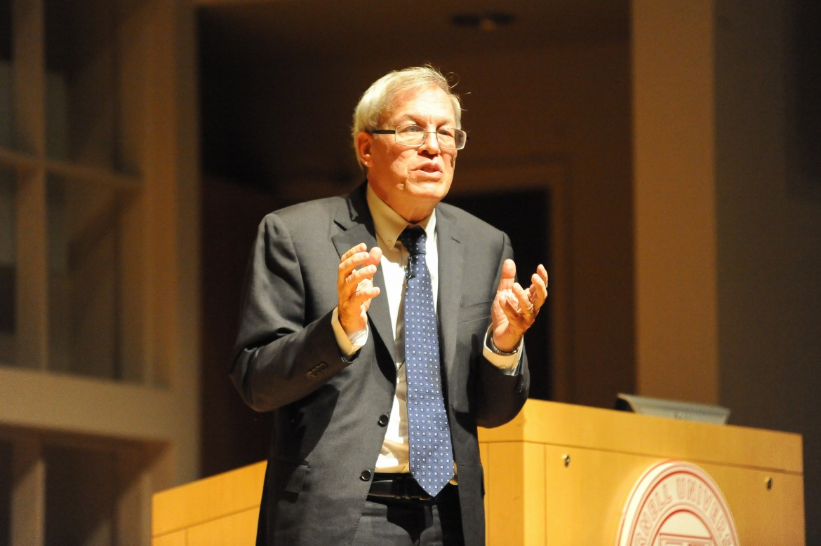 Erwin Chemerinsky speaks at Statler Auditorium on Monday.