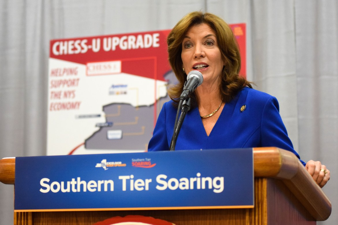 Lieutenant Governor Kathy Hochul speaks at the announcement at the Cornell High Energy Synchrotron Source (CHESS) on November 15th, 2017.
