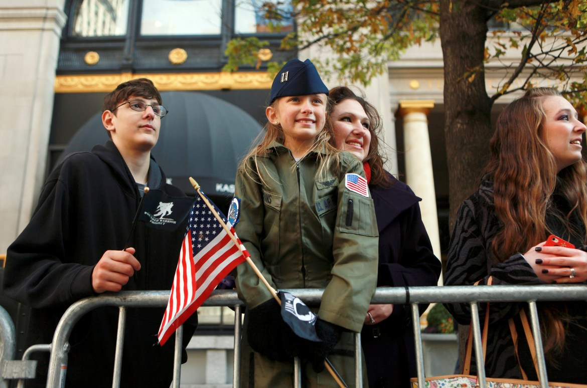Paradegoers at the 92nd Annual Veterans Day Parade in New York, Nov. 11, 2011.