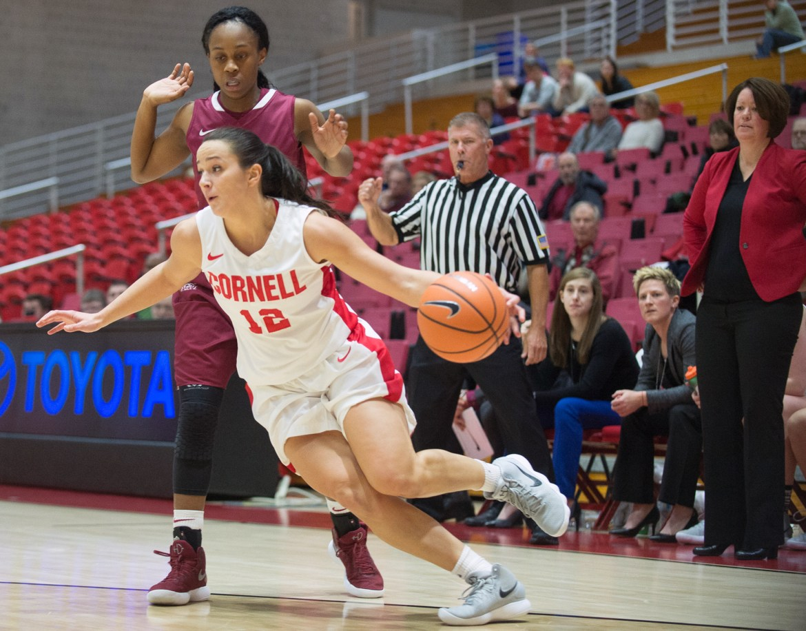 Sophomore Samantha Widmann drives toward the basket during Cornell's 74-70 loss to Colgate.
