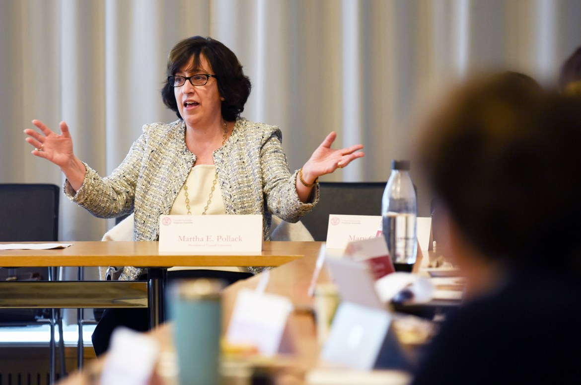 President Martha Pollack answers Employee Assembly membrs' questions about free speech, risk-taking behavior and the need for a new consensual relations policy.