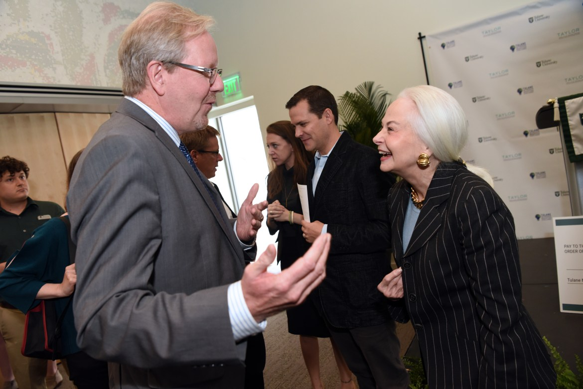 Prof. Harold Van Es greets donor Phyllis Taylor, who sponsored the $1 million prize for the competition.