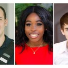 Three Cornell alumni who were named to the Forbes 30 Under 30 list: (from left to right) Jake Reisch '15, Iyore Olaye '16, center and Micah Green '18.