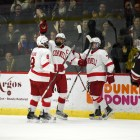 The Red skated past RPI, 4-2, winning the ECAC regular season title.