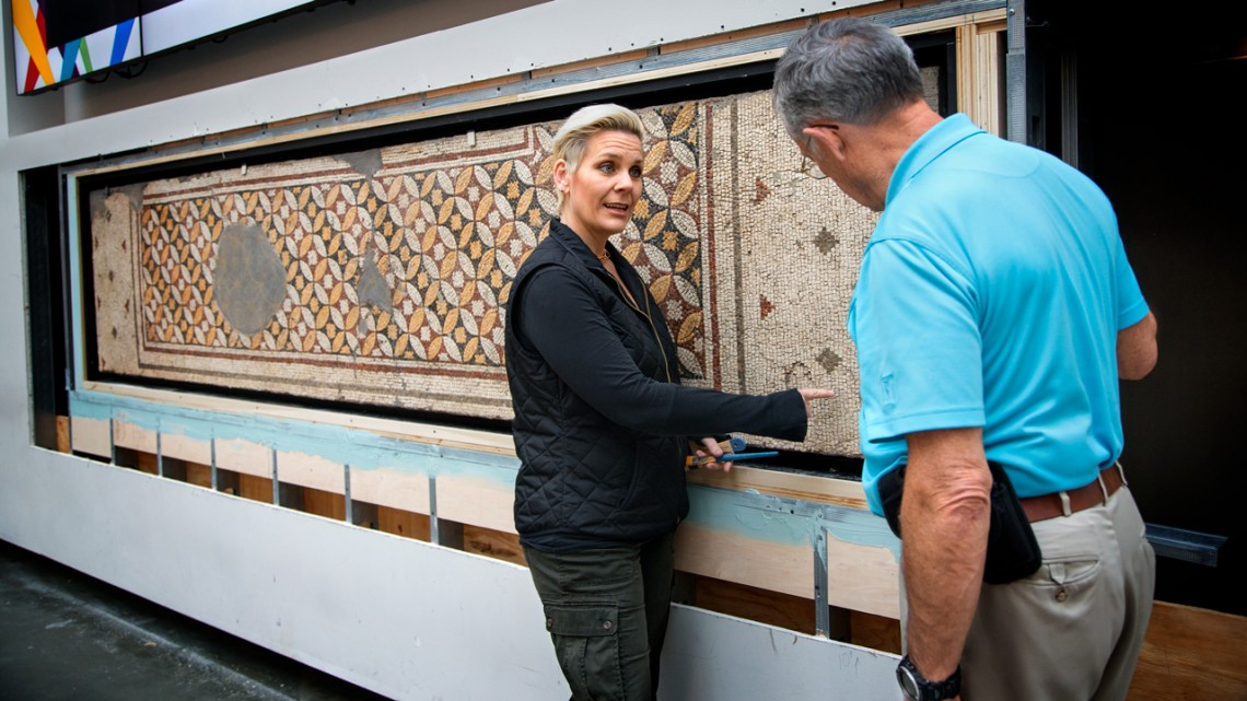 A second-century mosaic is the newest permanent addition to Klarman Hall.