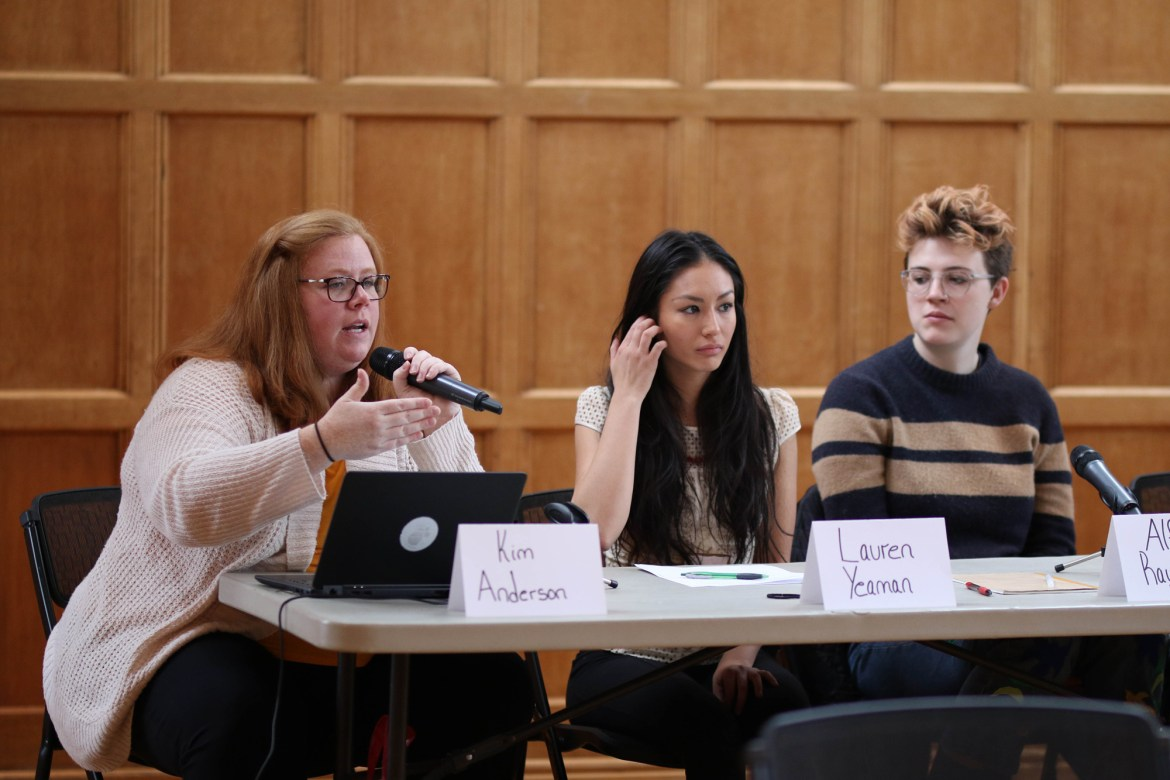 The ECO summit included a panel portion, which discussed internal issues and plans for future improvement. Members of the panel included Kimberley Anderson '06, sustainability manager, and Lauren Yeaman '19.