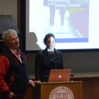 Prof. Charles Van Loan, dean of faculty, and Anna Waymack grad present their initial draft of the consensual relationship policies at a GPSA meeting on March 12.