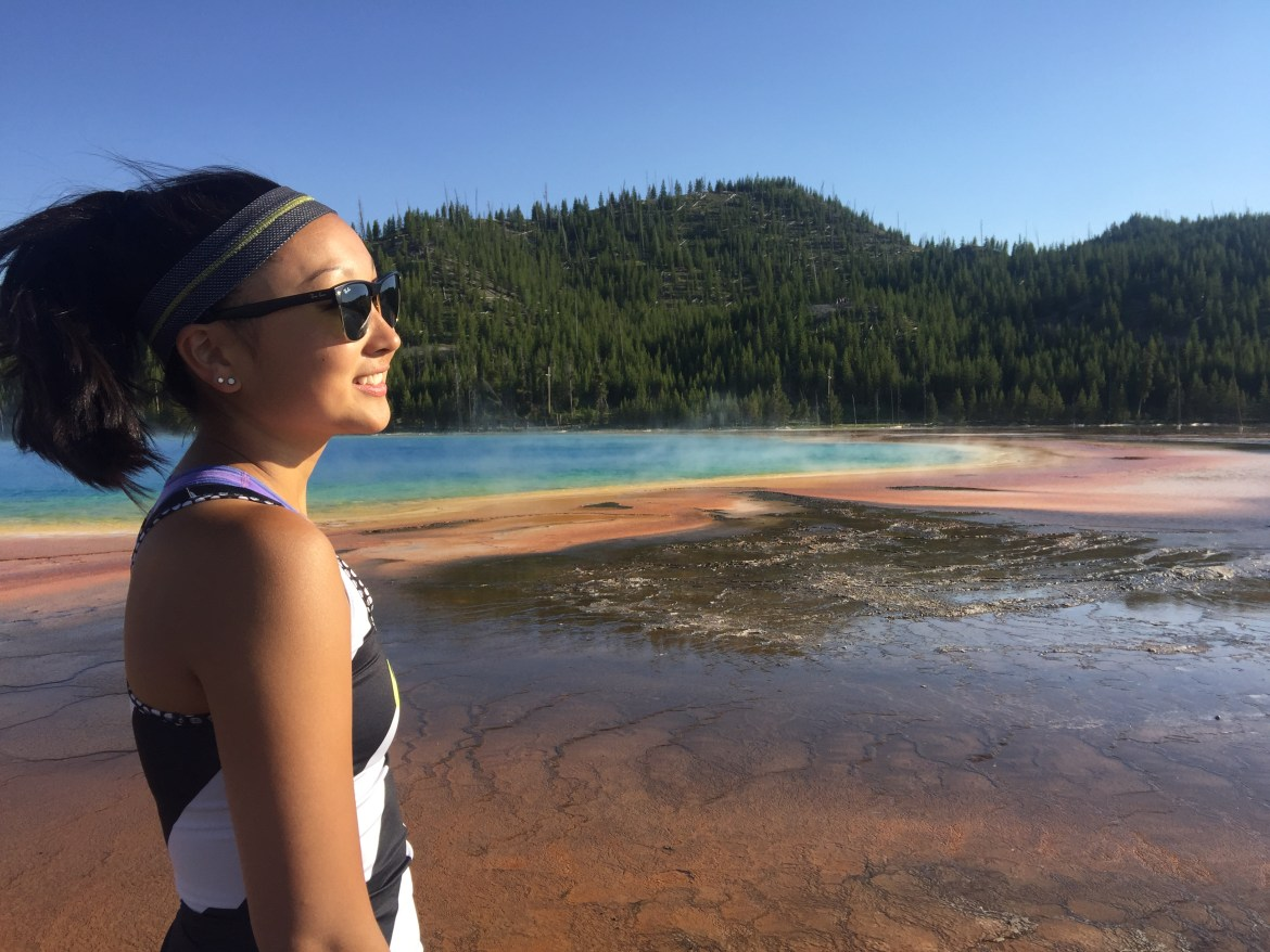 Suzuki enjoying herself at Yellowstone National Park in summer 2017. In addition to running, Suzuki is an active climber and nature enthusiast.