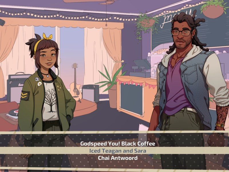 The player chooses which punny coffee to choose while talking to Amanda and Mat.