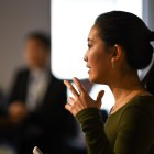 A student shares her ideas at the Big Idea Competition last Friday.