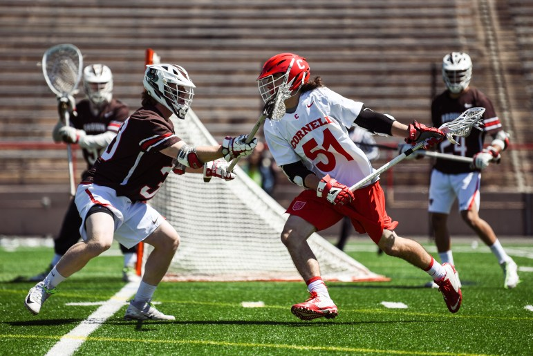 Sophomore attack Jeff Teat scored his fifth 10-point game on two goals and eight assists, tying him with Mike French '76 for the most 10-point games in Cornell history.