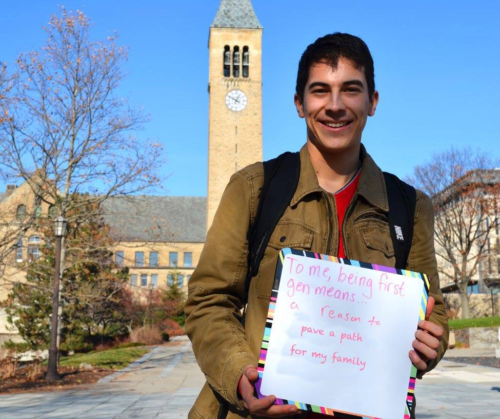 Rigo Perez '17 participated in a photo shoot during First-Gen Week in 2016.