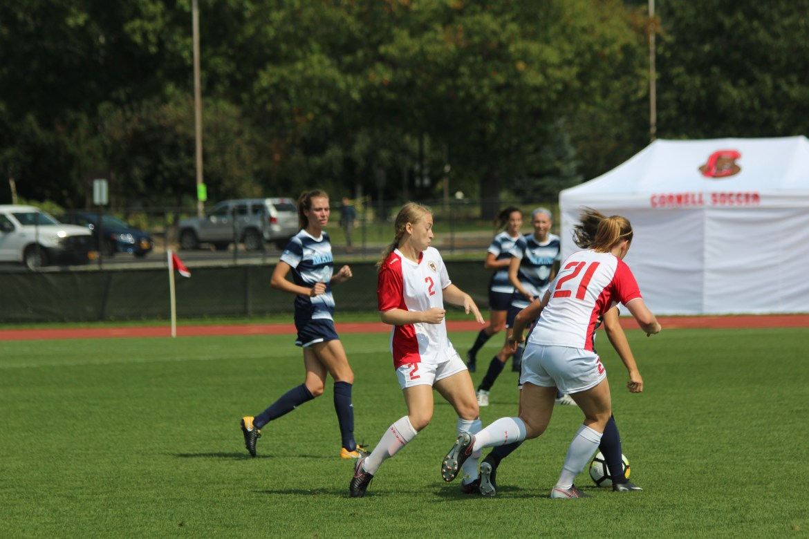 Although the Red failed to score any goals in its loss to Buffalo, the game's first shot on goal  came from junior midfielder Karli Berry (above), who returned to the field after spending the last year sidelined by an injury.