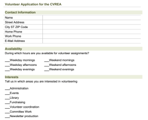 CVREA volunteer form
