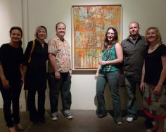 (left to right) Meiru Wong, Leslie Batty, Peter Janzen, painting by Zachary Welch, Autumn Lencioni, Chris Sharnick, Jill Tisdale.