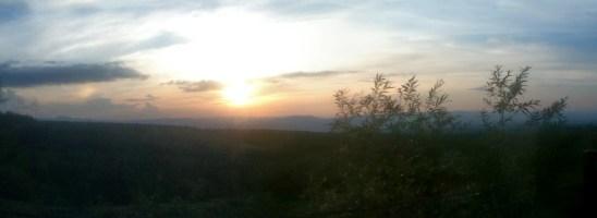 Roadside setting sun