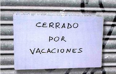 Cerrado por vacaciones.