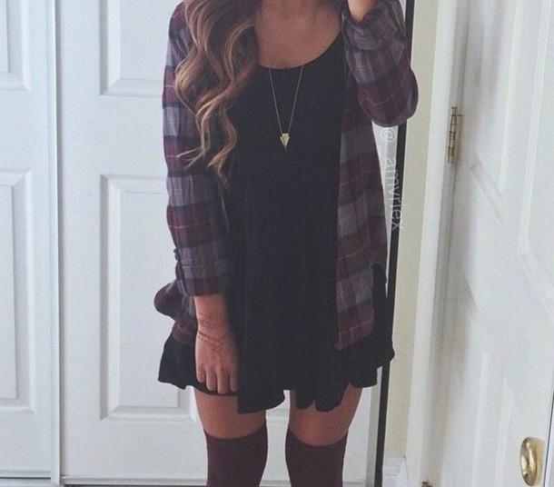 92tg71-l-610x610-dress-little+black+dress-black+dress-boho+dress-flannel+shirt-outfit-jacket-socks