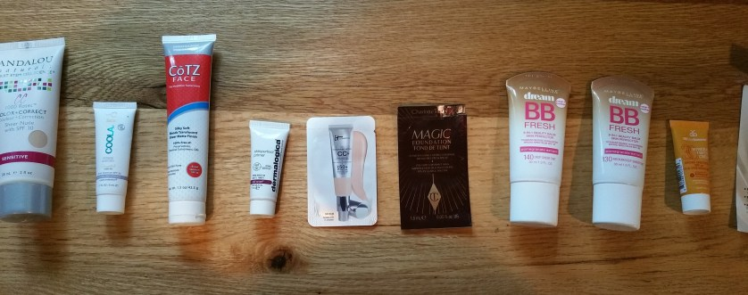Left to right:Andalou 1000 Roses Sensitive SPF 30, Coola, Cotz, Dermalogica, It Cosmetics, Charlotte Tilbury, Maybelline BB, Maybelline BB, MDSolarsciences