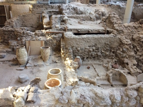 Archaeological site at the prehistorical settlement in Akrotiri