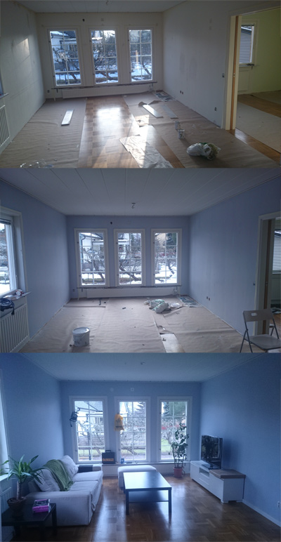 Evolution of a living room.  Ursprung, målning, lite möbler. Fortfarande ganska kalt...