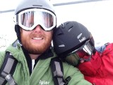 Devin and Rachel stay bundled on the lift at Steamboat