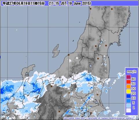 気象庁 - レーダー・ナウキャスト(降水・雷・竜巻):北陸地方(東部) 2015/06/19