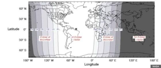 2015年9月皆既月食を観測できるエリア