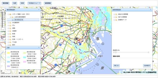 DiMAPS 浸水想定区域 (東京周辺)