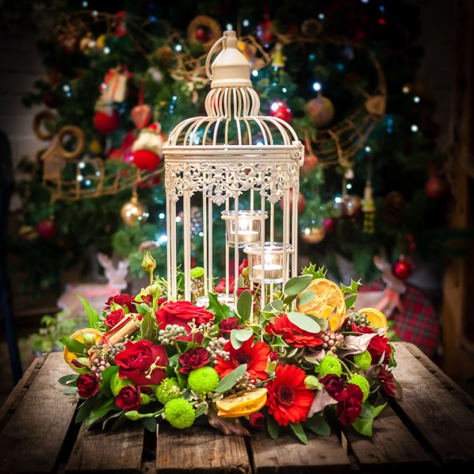 Vintage Christmas Candle Arrangement
