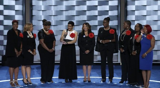 """Mothers of the Movement"" members stand onstage during the second day of the Democratic National Convention in Philadelphia"