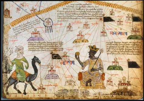 The Catalan Atlas (1375) depicting Mansa Musa holding gold
