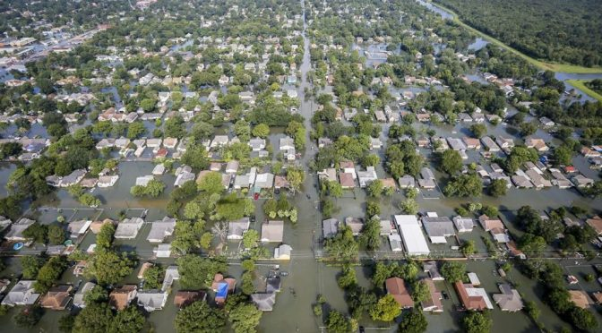 An aerial view shows extensive flooding from Harvey in a residential area in Southeast Texas, Aug. 31, 2017.