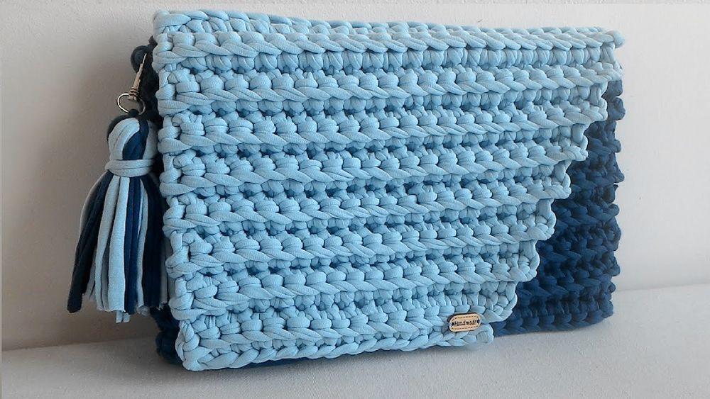 Вязание спицами сумки из трикотажной пряжи 10