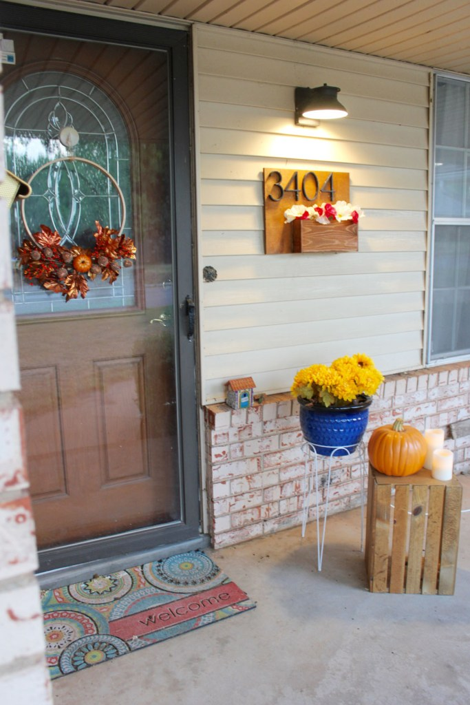 blue planter fall wreath from embroidery hoop modern house numbers