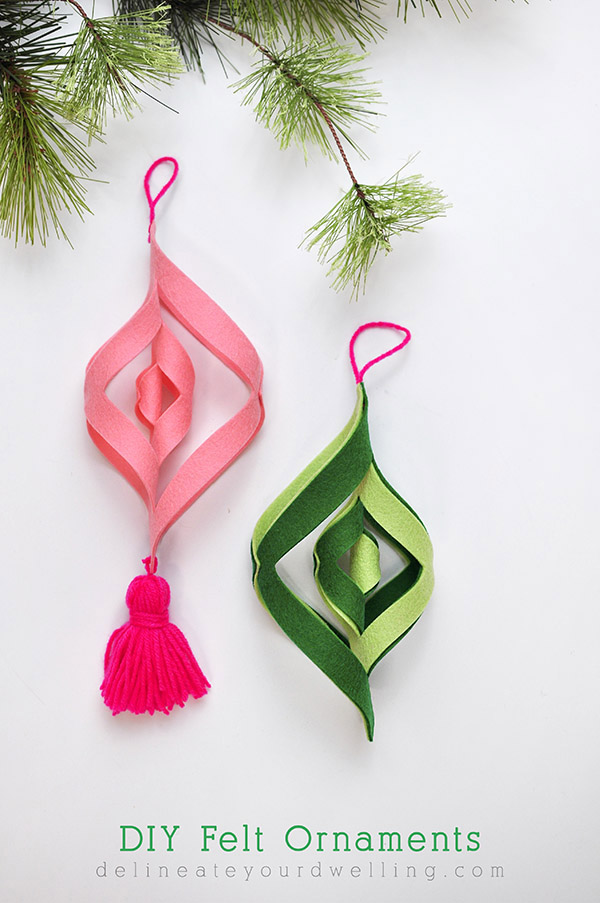 DIY Felt Ornaments Modern Holiday Decor