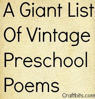 Giant List Of Vintage Preschool Poems