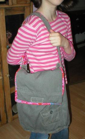 Recycled Coat Messenger Bag