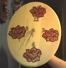 Wood Burn Rose Clock