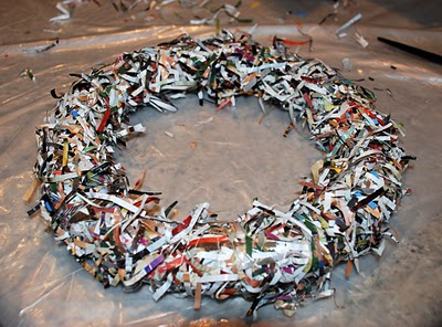 Wreath Made Of Shredded Magazine