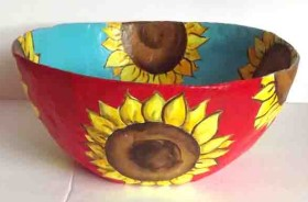 Paper Mache Bowl – Sunflowers