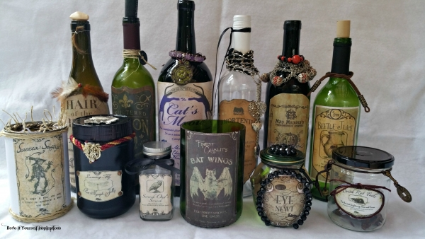 halloween beverage bottles and treat jars